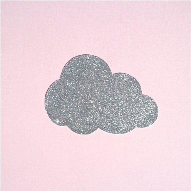 Lampe de chevet coton rose pâle nuage argent pailleté